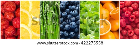 Healthy food backgrounds, seven images of lemons, blueberries, asparagus, raspberries, lettuce, strawberries and oranges - stock photo
