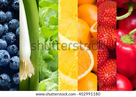 Healthy food backgrounds, seven images of lemons, green onions, blueberries, paprika, salad, strawberries and oranges - stock photo