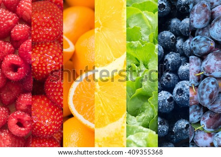 Healthy food backgrounds, seven images of lemons, plums, blueberries, raspberries, salad, strawberries and oranges - stock photo