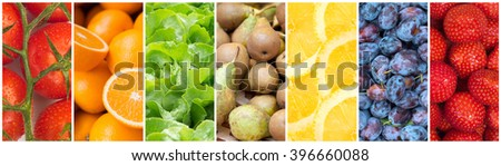 Healthy food backgrounds, seven images of lemons, plums, pears, tomatoes, salad, strawberries and oranges - stock photo