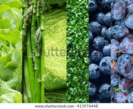 Healthy food backgrounds, six images of asparagus, plums, blueberries, lettuce, cress, and savoy cabbage  - stock photo