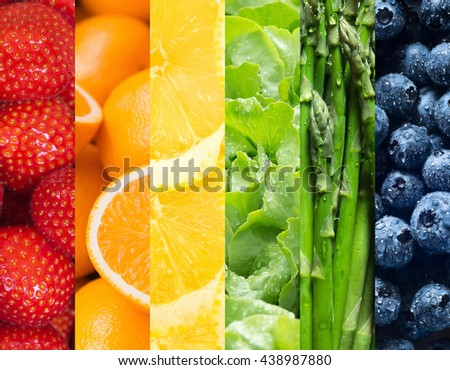 Healthy food backgrounds, six images of lemons, blueberries, asparagus, salad, strawberries and oranges - stock photo