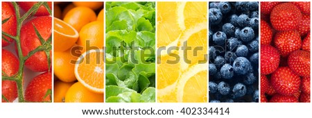 Healthy food backgrounds, six images of lemons, blueberries, tomatoes, salad, strawberries and oranges - stock photo