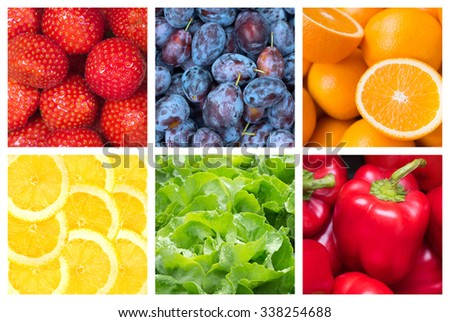 Healthy food backgrounds, six images of strawberries, paprika, salad, plums,lemons and oranges