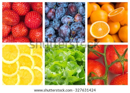 Healthy food backgrounds, six images of strawberries, tomatoes, salad, plums,lemons and oranges - stock photo