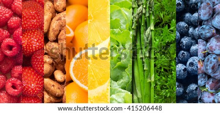 Healthy food backgrounds, ten images of strawberries, lemons, asparagus, raspberries, plums, blueberries, potatoes, lettuce, parsley and oranges - stock photo