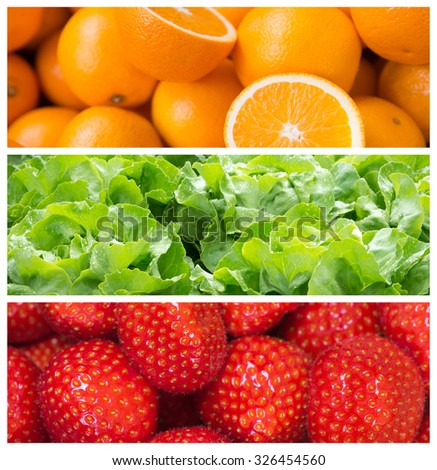 Healthy food backgrounds, three images of oranges, strawberries and salad - stock photo