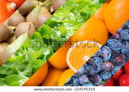 Healthy food backgrounds, with strawberries, salad, plums ,pears, pumpkins and oranges