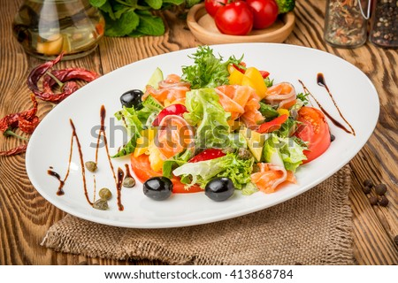healthy food beautiful and tasty food on a plate - stock photo