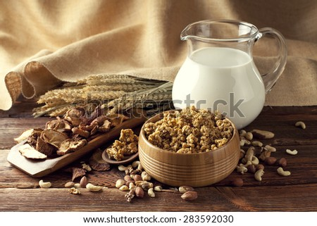 Healthy food - cereals with fruits and nuts - stock photo