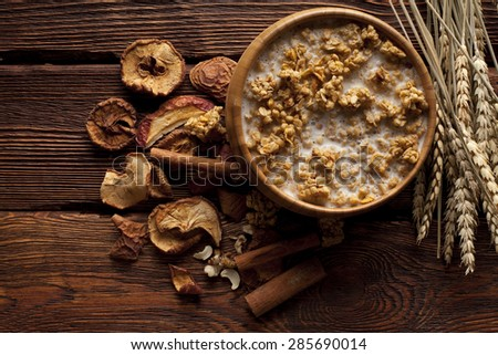 Healthy food - cereals with fruits and nuts