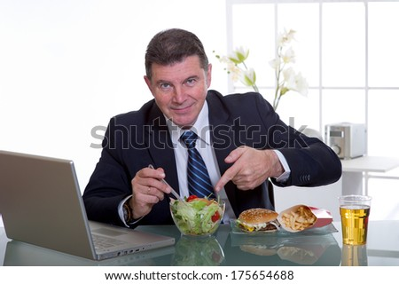 healthy food concept at workplace - stock photo