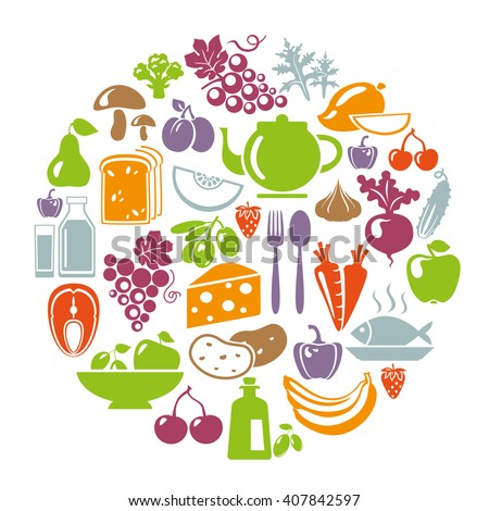 Healthy food concept. Circle shape with organic food icons. Healthy food illustration. Healthy food logo concept. Food icons: vegetables, fruits, fish, tea, coffee, cheese, olive oil, dairy