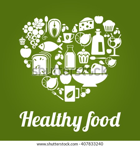 Healthy food concept, vintage style, heart shape. Heart shape with organic food icons. Healthy food illustration. Healthy food logo concept.