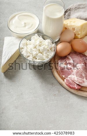 Healthy food. Dairy products on the table