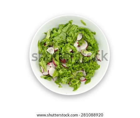 Healthy food. Diet salad made with radish, fresh lettuce and olive oil, in a white bowl isolated on white background. Top view.  - stock photo