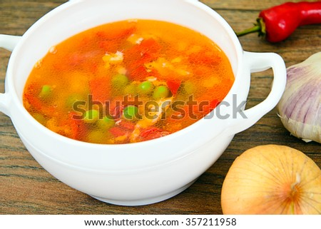 Healthy Food: Fish Soup Vegetables. Studio Photo