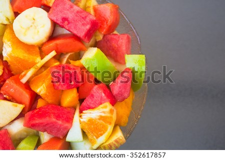 Healthy food for breakfast: plate with fruits