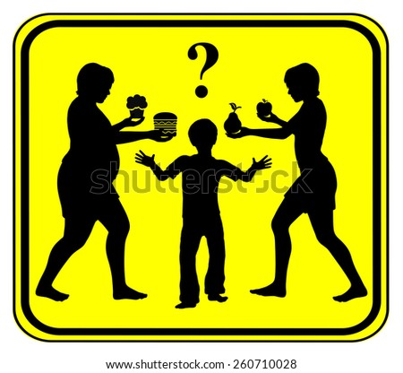 Healthy Food for Kids. Concept sign to improve eating habits, fruits instead of junk food in childhood - stock photo