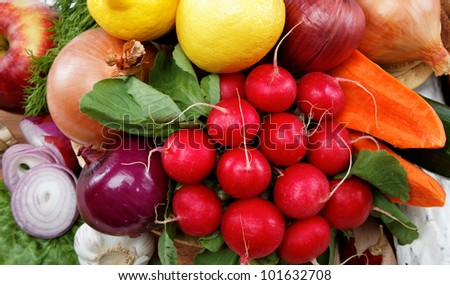Healthy food. Fresh vegetables and fruits. - stock photo
