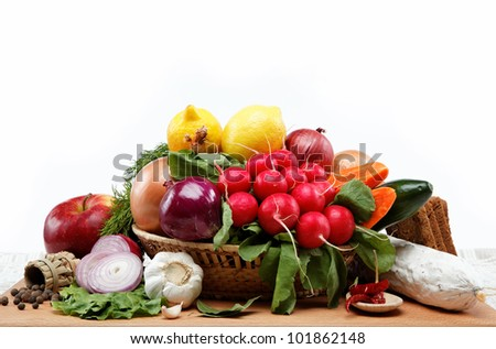 Healthy food. Fresh vegetables and fruits on a wooden table. - stock photo