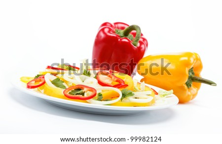 Healthy food. Fresh vegetables and salad on a white background.