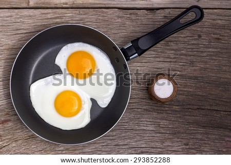 Healthy food Fried eggs in a frying pan. food - stock photo