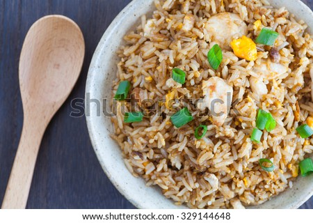 Healthy food fried rice chicken with egg and green onion - stock photo