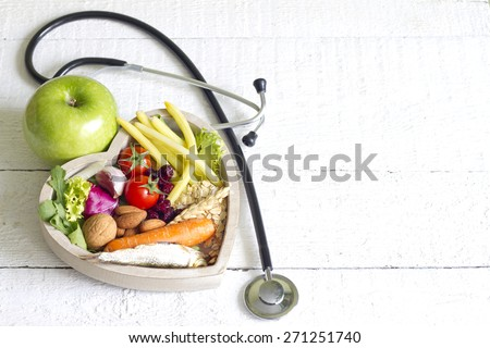 Healthy food in heart diet abstract concept - stock photo