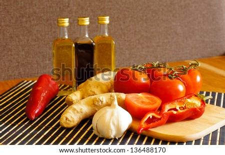 Healthy food: olive oil, vegetables and spices