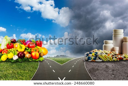 Healthy food or medical pills - stock photo
