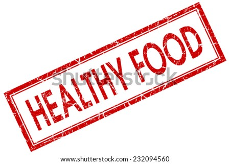 Healthy food red square grungy stamp isolated on white background - stock photo