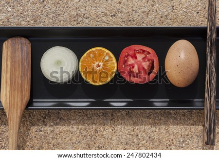 Healthy food set on the black tray - stock photo