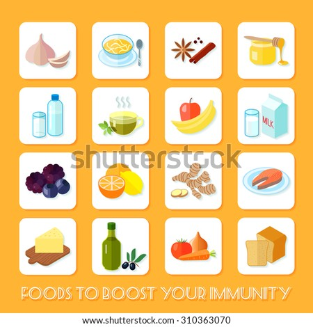 Healthy food that boost your immunity icons flat set isolated  illustration