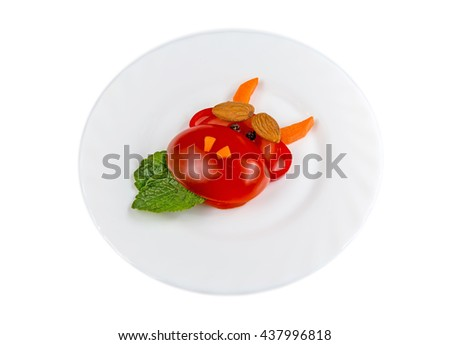 Healthy food. The figure of a cow made of vegetables and fruits, isolated on white background - stock photo