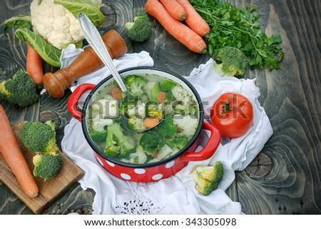 Healthy food, vegetarian food - vegetable soup - stock photo