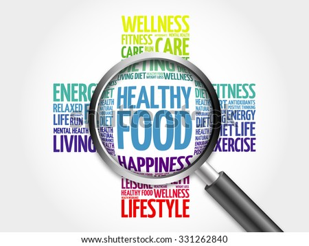 Healthy Food word cloud with magnifying glass, health concept - stock photo