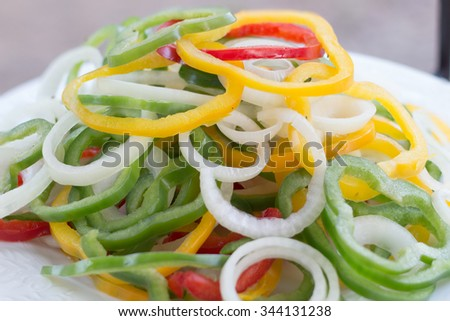 healthy foods, Sweet Peppers or Bell Peppers slice - stock photo