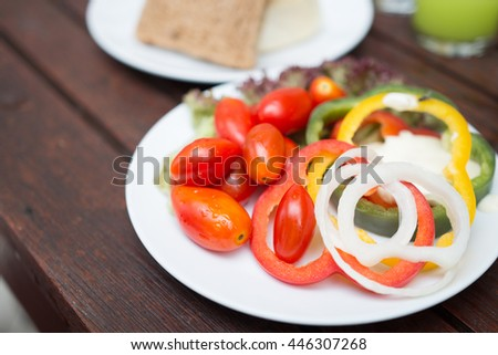 healthy foods, Sweet Peppers or Bell Peppers slice and red tomato - stock photo
