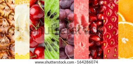 Healthy fresh fruits background - stock photo