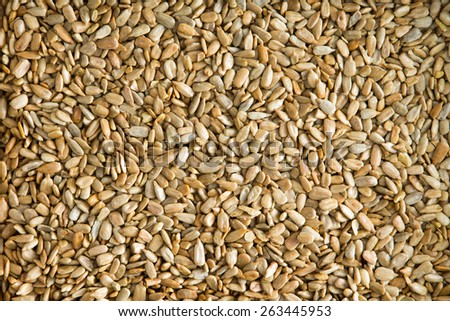 Healthy fresh roasted hulled sunflower seeds for a tasty snack, garnish and salad ingredient, background texture viewed from above