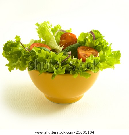 healthy fresh salad isolated on white background. Healthy lifestyle. - stock photo