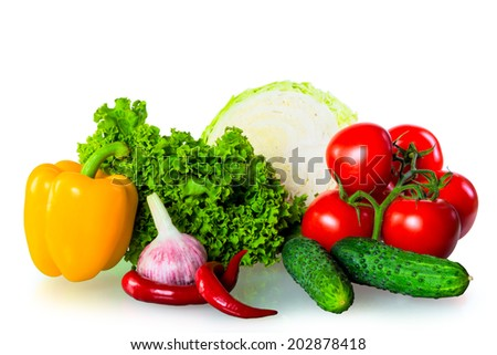 healthy fresh vegetables isolated on white background - stock photo
