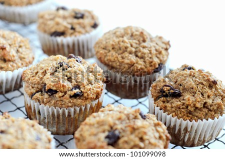 Healthy freshly baked wholewheat bran muffins on cooling tray - stock photo