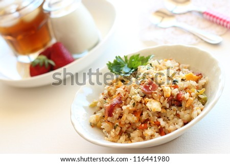 Healthy fried rice with vegetables and bacon