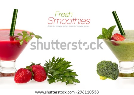 Healthy fruit and vegetable smoothies made from ripe red juicy strawberries and fresh organic broccoli served in conical glasses with fresh ingredients and copy space over white. Diet concept. - stock photo