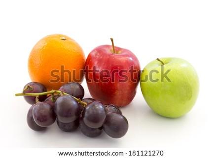 Healthy fruit isolated on white background - stock photo