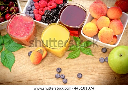 Healthy fruit juice made with organic fruits - stock photo
