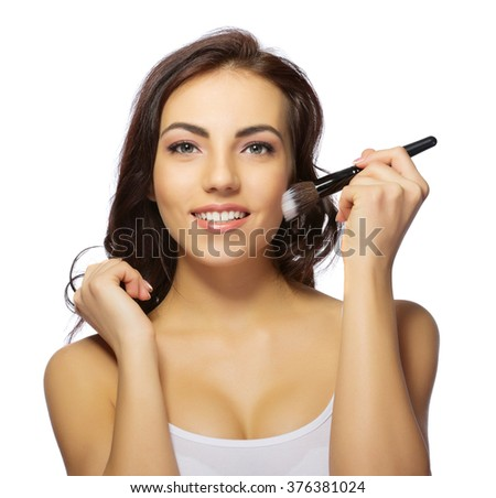 Healthy girl with makeup brush isolated - stock photo