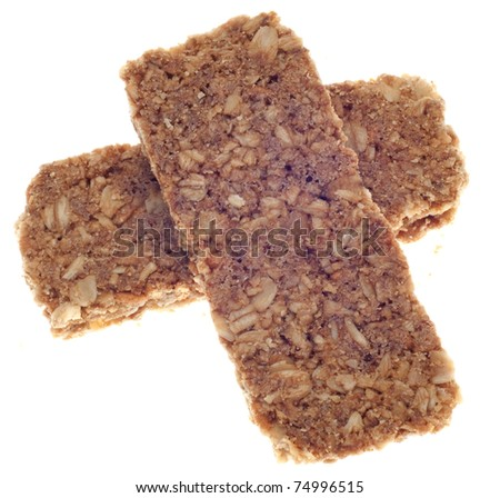 Healthy Granola Bars Isolated on White with a Clipping Path. - stock photo